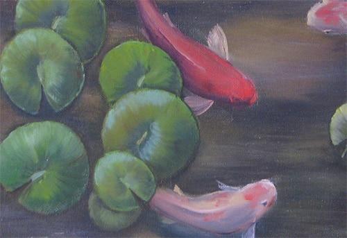 картина маслом рыбки кои r