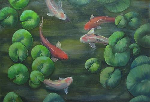 картина маслом рыбки кои