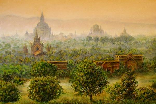 kartina-na-vystavke-zakat-nad-drevnim-gorodom-bagan
