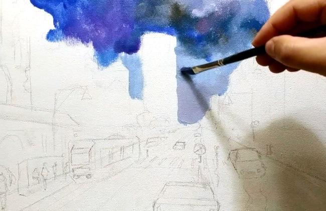 как рисовать дождивое небо
