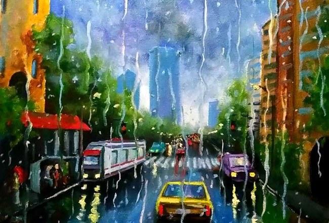 мелкие капли на стекле как рисовать дождь