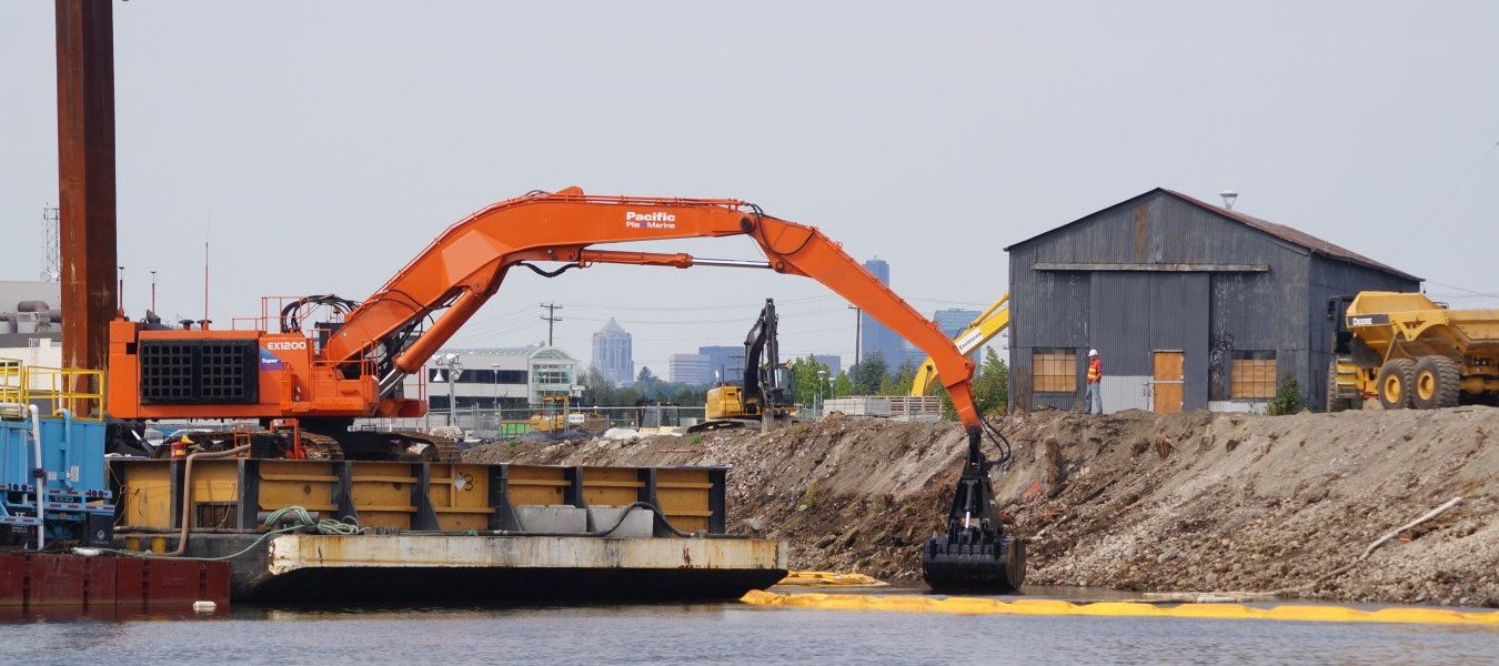 Dredging contaminated sediments from the Lower Duwamish river.