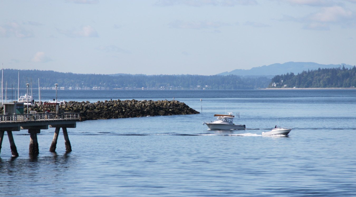 A boat travels in Puget Sound.
