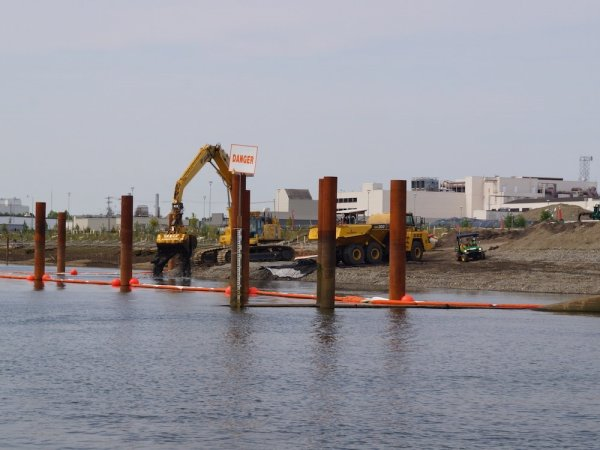 A dredging operation on the Duwamish River.