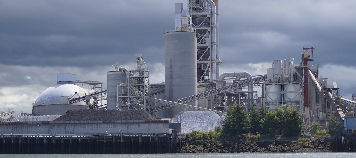 An industrial cement plant on the bank of the Duwamish River.