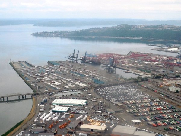 An aerial view of the Port of Tacoma, looking north.