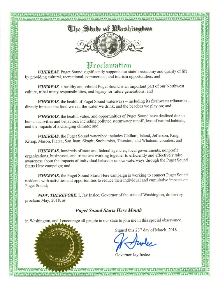 Puget Sound Starts Here Month proclamation