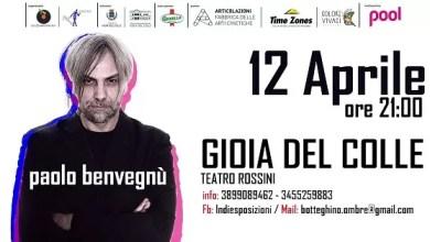 """Photo of [Music Live] PAOLO  BENVEGNU' a """"Indiesposizioni"""" @ """"Teatro Rossini"""" Gioia del Colle (Ba) – 12 aprile 2019"""