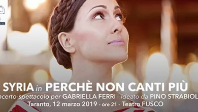 """Photo of [Music Live] SYRIA """"Perché non canti più"""" (omaggio a Gabriella Ferri) @ """"Teatro Fusco"""" Taranto – 12 marzo 2019"""