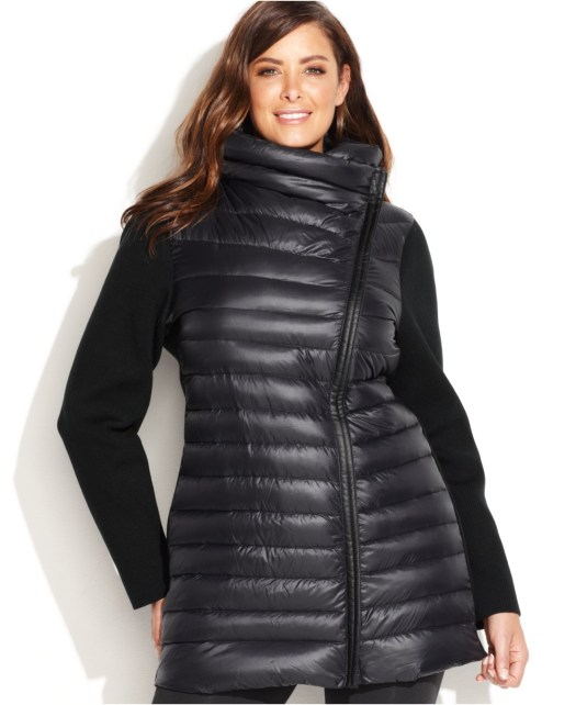 Black Puffer Jacket and T-Shirt