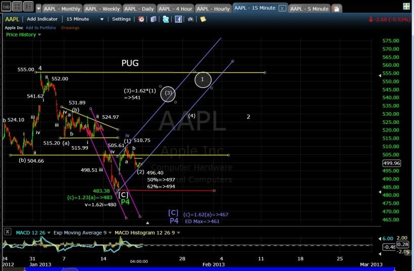 PUG AAPL 15-min EOD 1-18-13