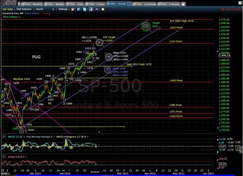 PUG SP-500 60-min chart EOD 1-31-13