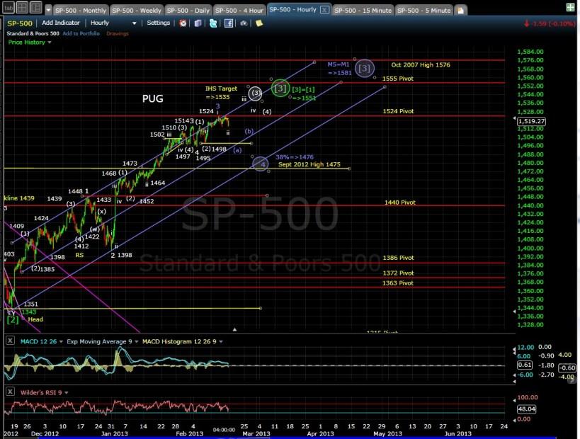 PUG SP-500 60-min chart EOD 2-15-13