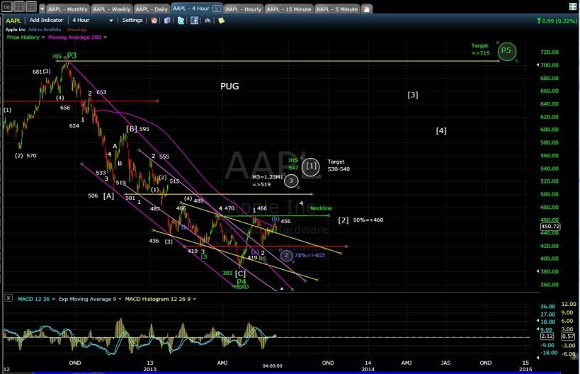 PUG AAPL 4-hr chart EOD 6-3-13
