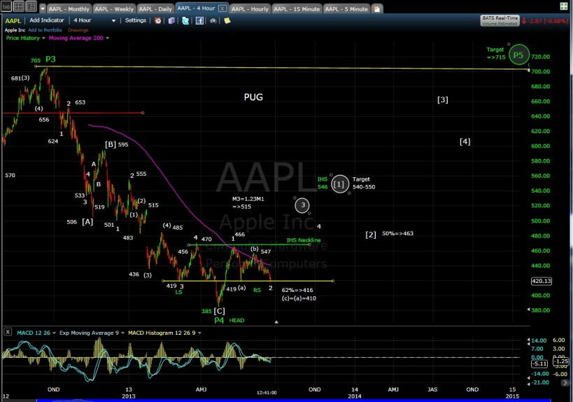 PUG AAPL 4-hr mid-day 6-20-13