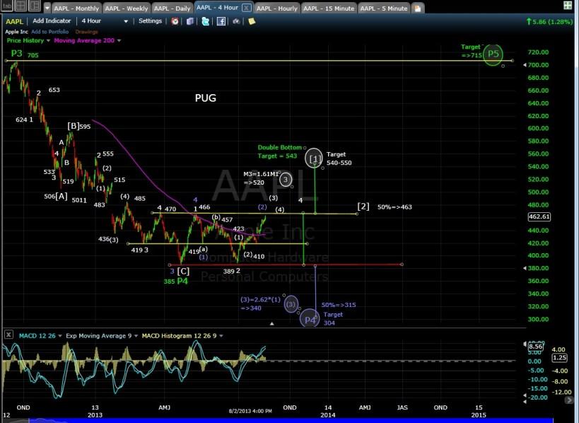 PUG AAPL 4-hr chart EOD 8-2-13