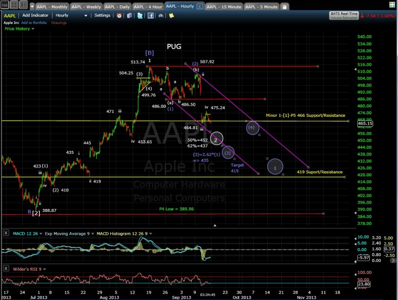 PUG AAPL 60-min chart after 9-13-13