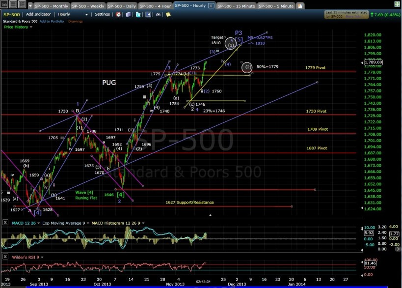 PUG SP-500 60-min chart EOD 11-14-13