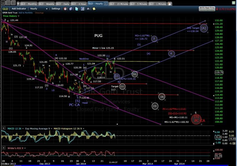 PUG GLD 60-min chart MD 1-30-14