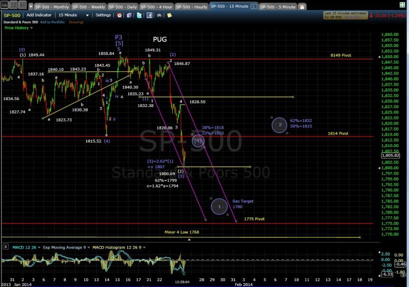 PUG SP-500 15-min chart MD 1-24-14