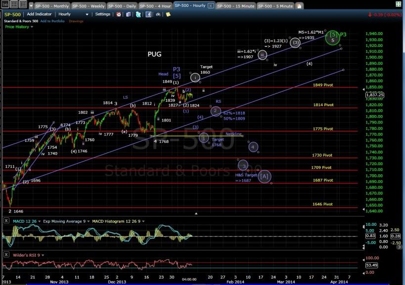PUG SP-500 60-min chart EOD 1-8-13