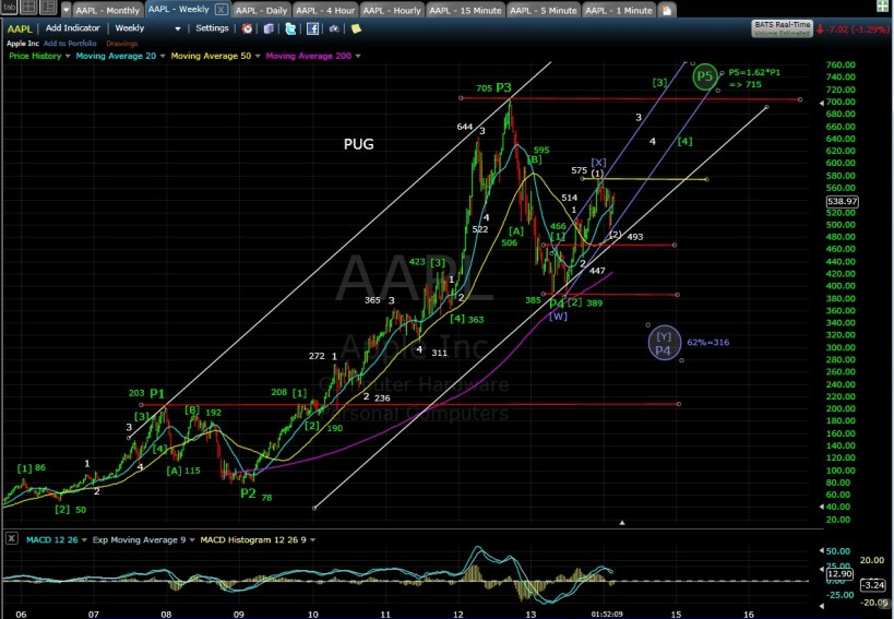 PUG AAPL weekly chart MD 2-19-14