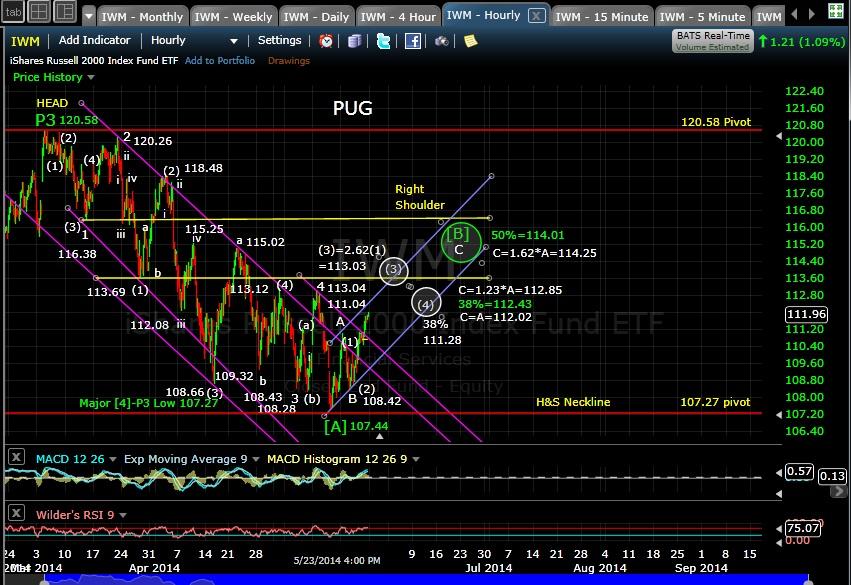 PUG IWM 60-min chart EOD 5-23-14