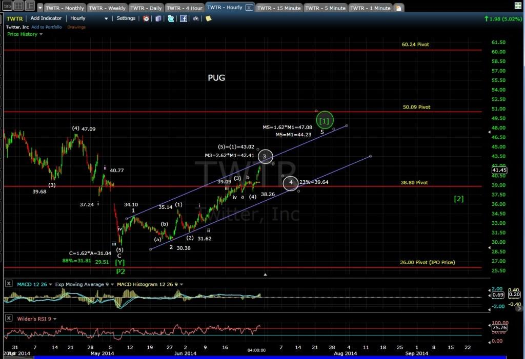 PUG TWTR 60-min chart EOD 6-26-14