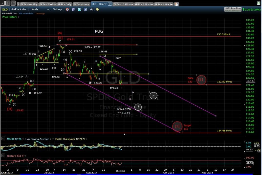 PUG GLD 60-min chart MD 8-22-14