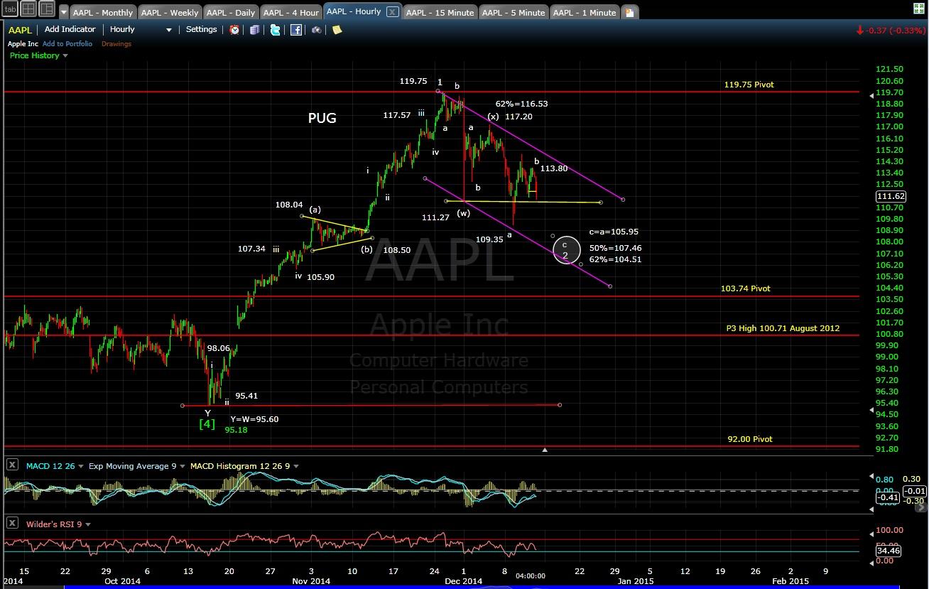 PUG AAPL 60-min chart EOD 12-11-14
