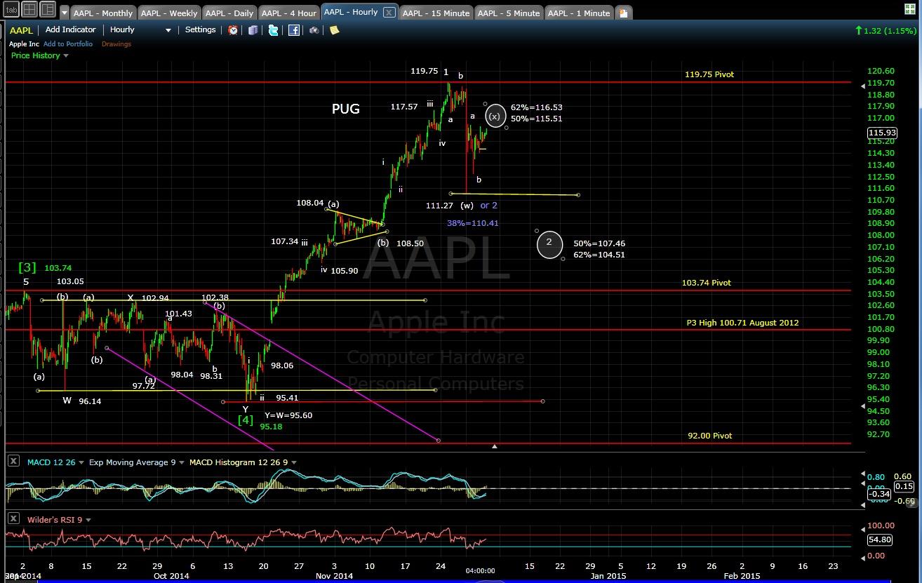 PUG AAPL 60-min chart EOD 12-3-14