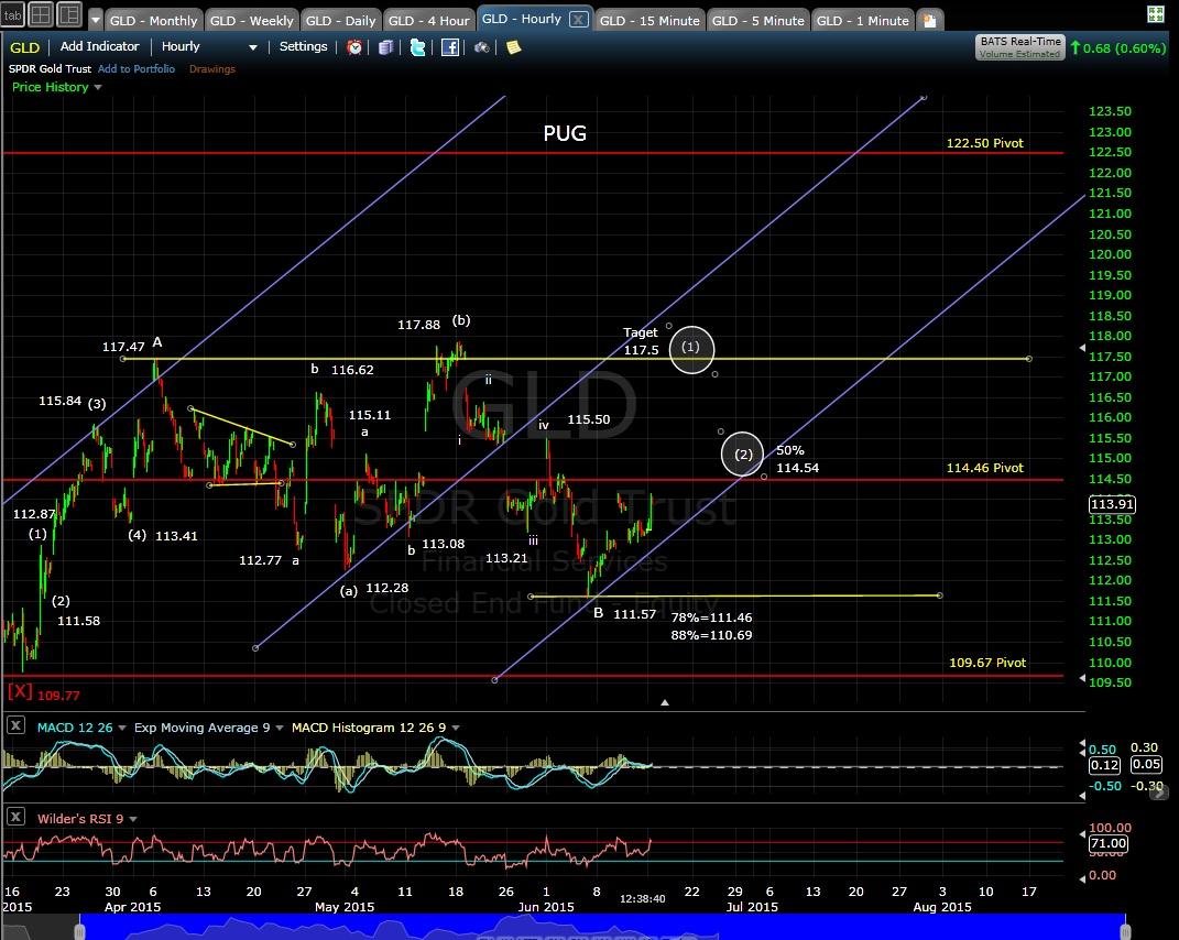 PUG GLD 60-min chart MD 6-15-15