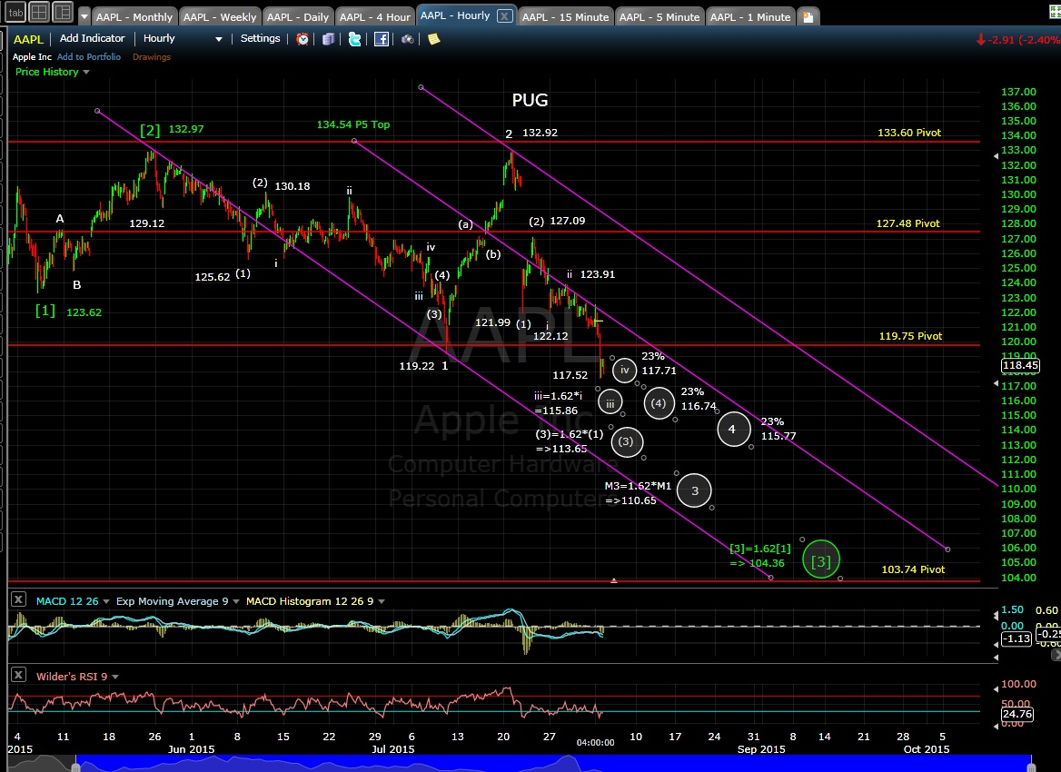 PUG AAPL 60-min chart EOD 8-3-15