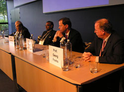 Dr. William Perry, with Jayantha Dhapanala, H.E. Pieter de Gooijer (Netherlands Foreign Ministry) and Georg Frerks