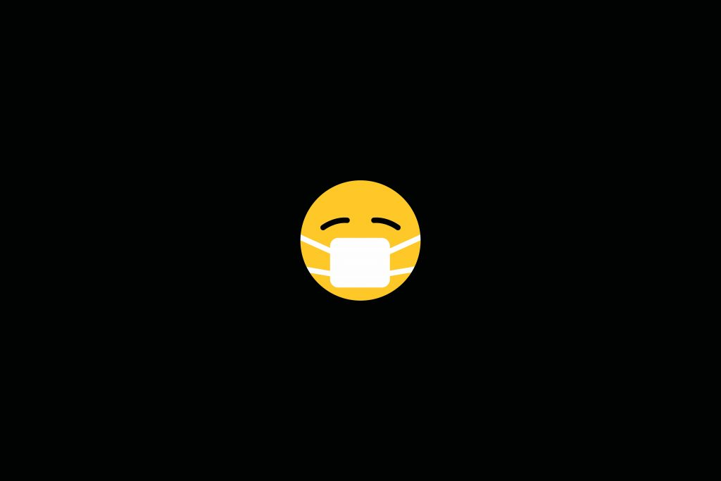Black background with a yellow emoji illustration wearing a face mask.
