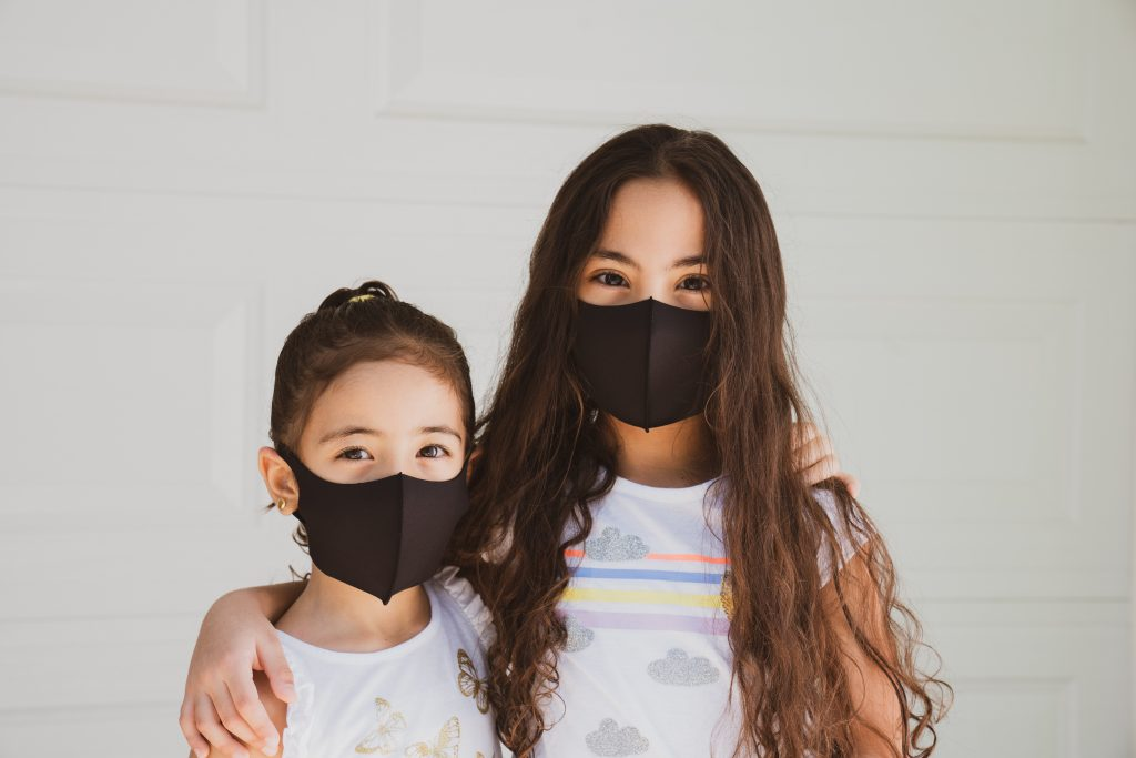 Two young girls wear wholesale cloth masks