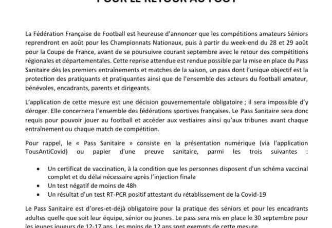 Covid – Le pass sanitaire obligatoire (officiel)