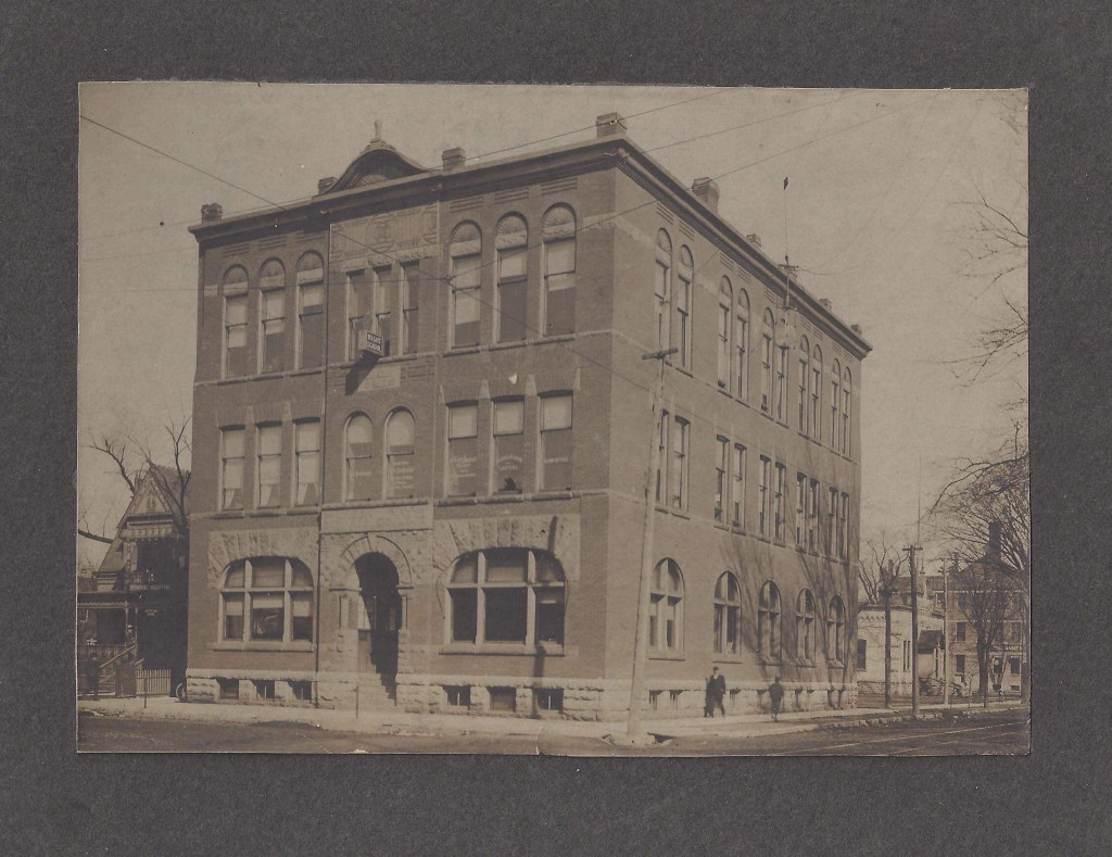 "The sign on this building appears to say ""Night School"" Can  you help identify this photo from Maggie Gajewski?"