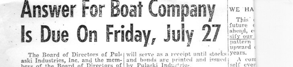 Article in Pulaski News on Carver Boat 1956