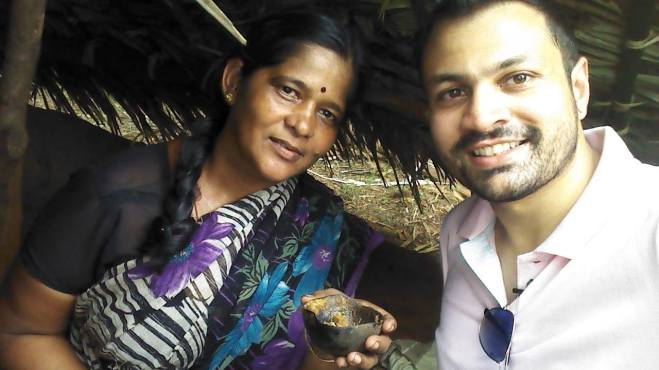 Muppidaathi gives me a sample for fresh made palm jaggery out of a coconut shell. I couldn't stop eating.