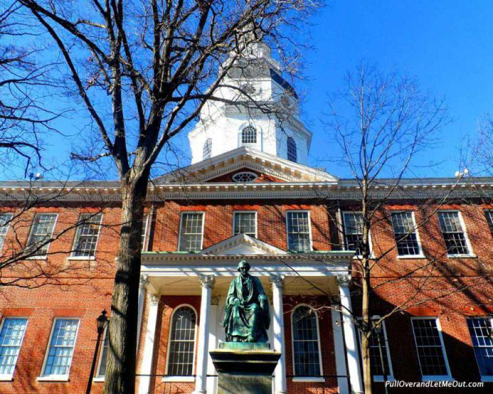 The Maryland State House is a prominent building in historic Annapolis.