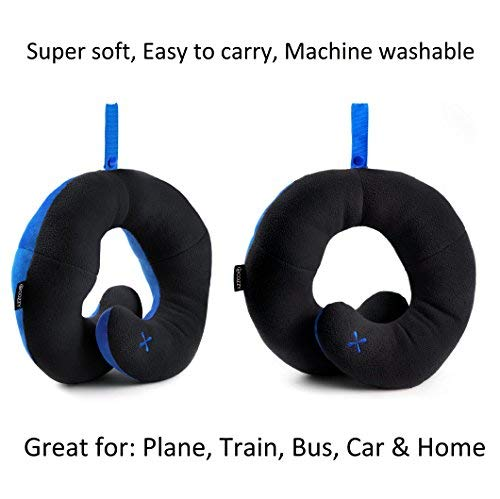 bcozzy travel pillow patented neck chin support for comfortable sleep on airplane car lightweight soft dual