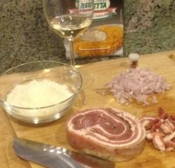 Pancetta, shallots, Parmesan cheese, wine Carnaroli rice for risotto preparation