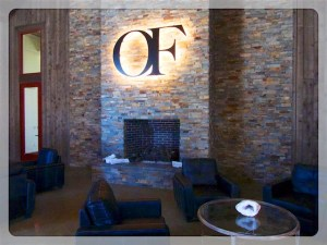 Fireside seating at Oak Farm Vineyards