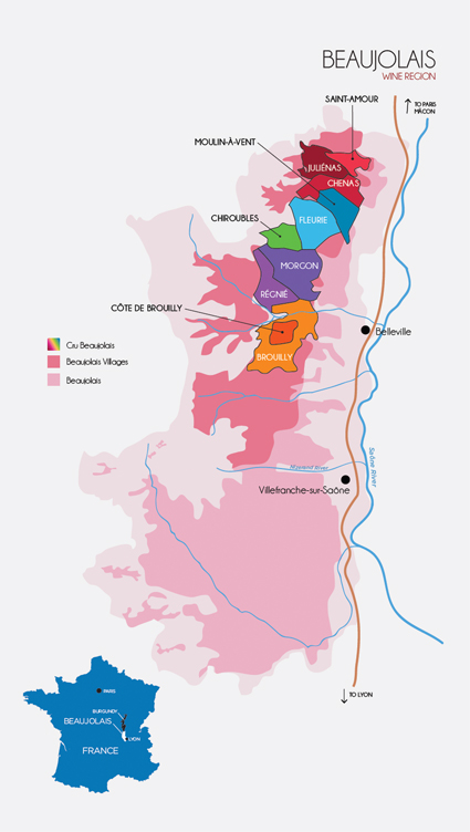 Beaujolais wine region map