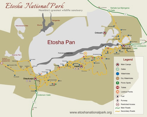 Map of Etosha National Park