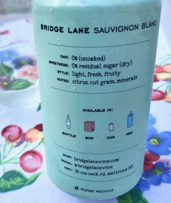 Bridge Lane Sauvignon Blanc back label