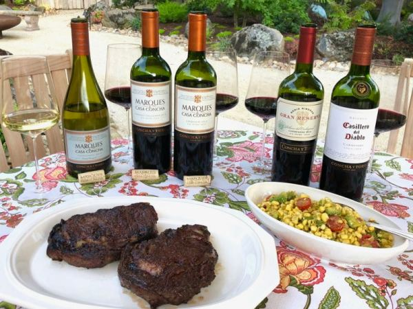 Concha y Toro wines with grilled ribeye steaks and corn salad