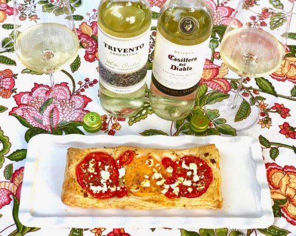 Torrontes and Sauvignon Blanc with tomato tart