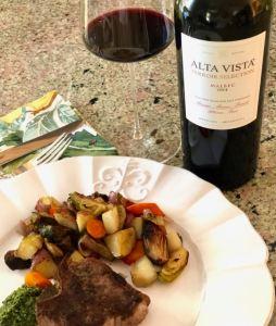 Alta Vista Malbec and grilled lamb chop